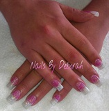 Pink & white glitter.