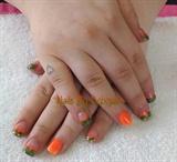 Acrylic camo & orange.