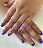 Acrylics with purple gel polish.