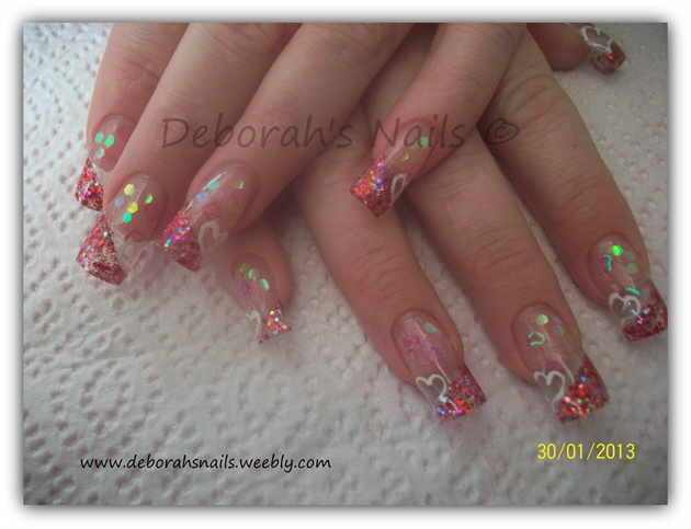 Subtle Glitter Acrylic Valentines Nails