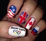 Winter Olympics Nail Art
