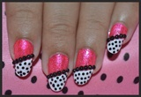 Hot Pink and Black Nails with white tips