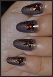 Flower Nail Art Black and golden grey