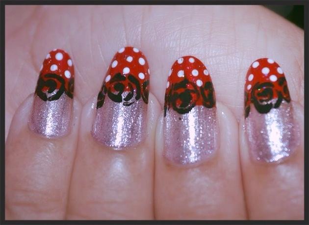 Polka Dot and rose lace nail art
