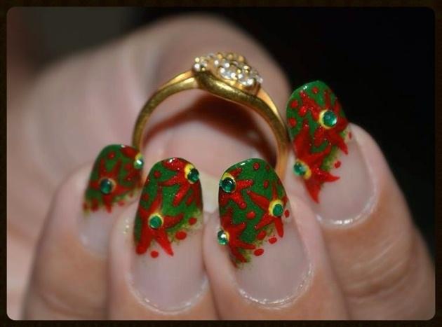 Christmas Floral Nail Art