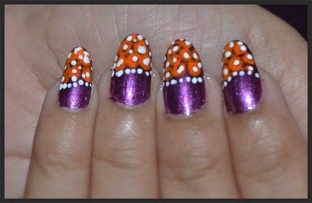 Orange Flowers on Purple Nails