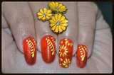 Yellow Flowers on Red