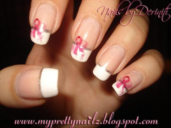 Breast Cancer Awareness French Tips Nail Art Gallery