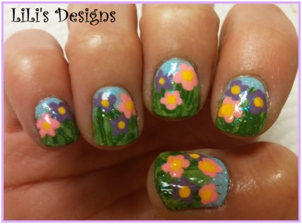 Spring Flowers w/Glitter