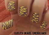 yellow & purple zebra stripes