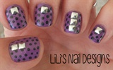 purple polka dots  w/studs