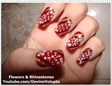Flowers & Rhinestones Nail Art