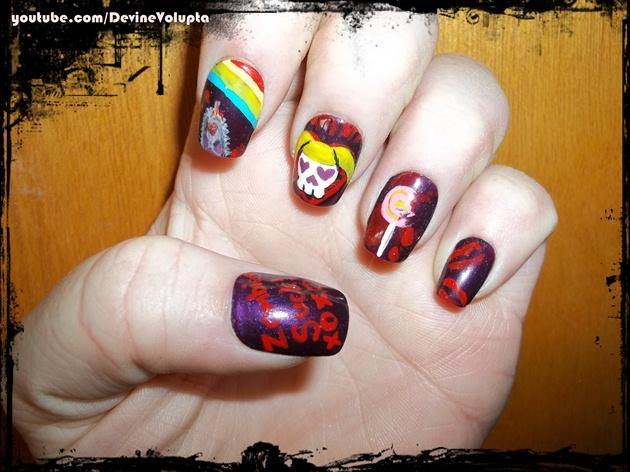 Lollipop Chainsaw Inspired Nail Art