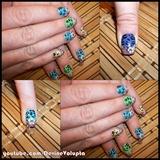 Colorful Cheetah Print Nail Art