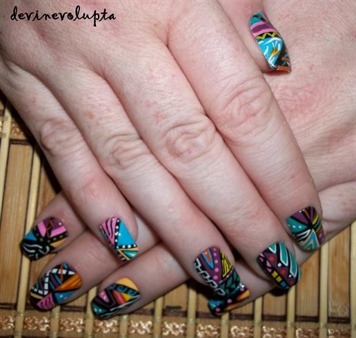 Abstract Tribal Nail Art