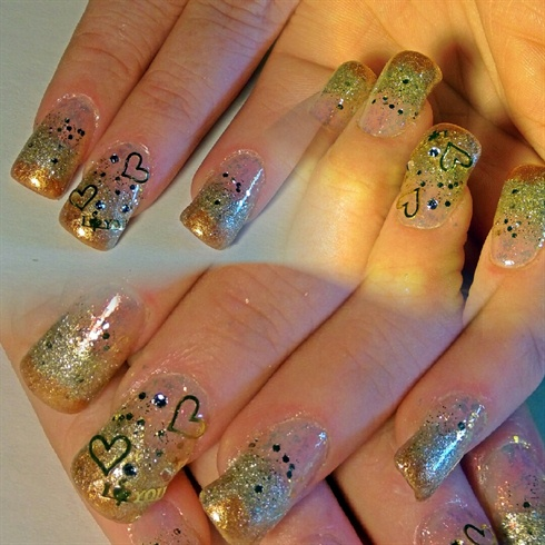 Gold Hearts & I Love You Nails