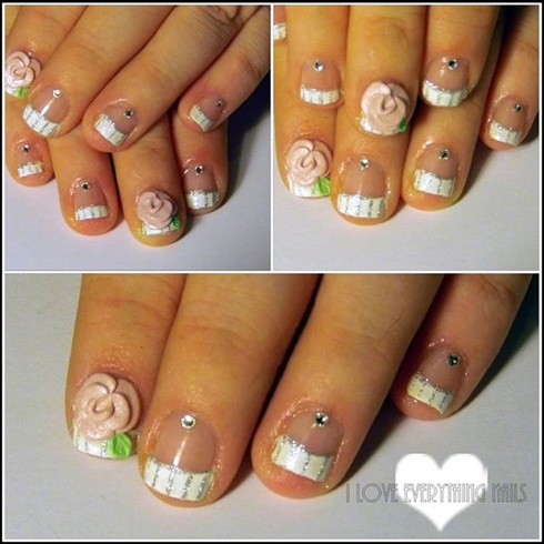 Short French W/ 3D Pink Flower