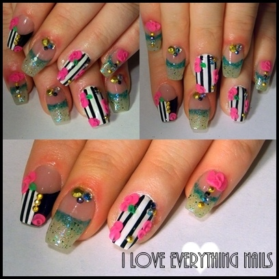 Pink Flower Nails W/ Stripes