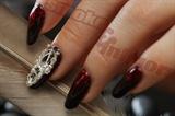Embellished red nails