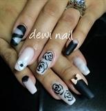 Black & Nude Matte Nail Art