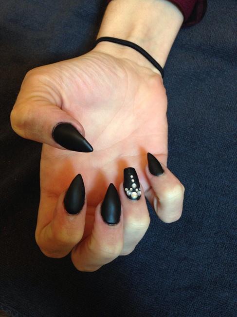 Matte Black Stiletto Nails - Nail Art Gallery