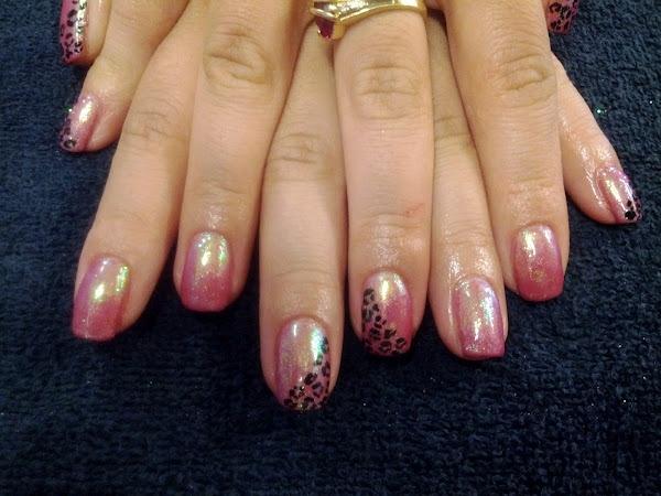 Metallic pink with leopard print