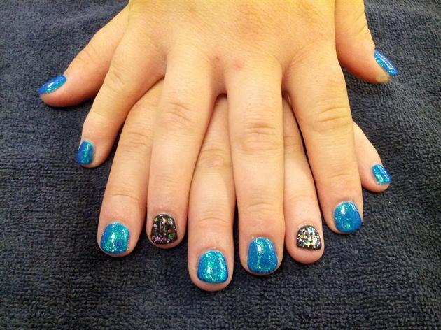 Metallic blue and confetti