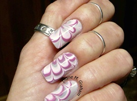 nail art: Pastel Water Marble