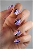 Purple Color Block Nails