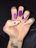 Purple/ Beige with Black half flowers