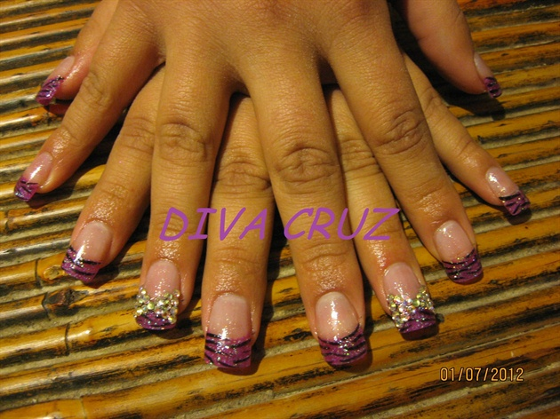 Girly Purple Nails Girly Purple Zebra