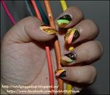 Foil mani over neon ombre
