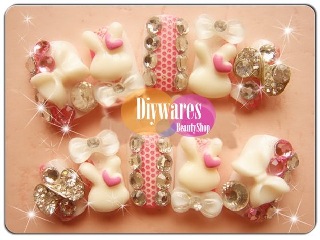 Cute fancy Pink white Fake Nail Art