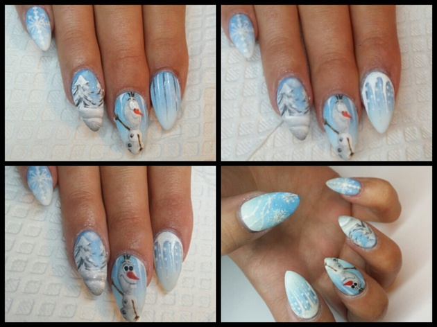 Next I worked to finish up my Cold arctic hand designs.  I used gel paints to add some glistening Icicles and add shimmer to the snow.  I didn't want to create a mural, but rather a few individual clips from the movie, to try and create a mood or feeling of Arctic or Frozen Temperature. I added the big snowflake on the pinky to create a wintery, girly feel to the set.  and I chose to create Icicles based on the beautiful back drops in the movie!