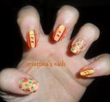 Orange flowers nails