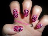 Zebra on hot pink nails