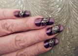 Metallic purple with black scrollwork