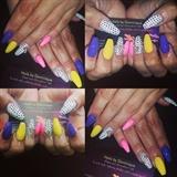 Polka dot and colorful bday nails!