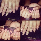 Nude ballerina nails with crown