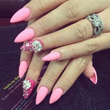 Pink matte stilettos with bling