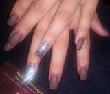 Matte brown fall nails