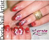 aquarium red nails,flower nail art