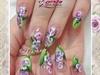 aquarium stiletto floral nail art
