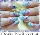 aquarium turquoise glitter, flowers,