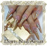 gold glitter, aquarium nails stiletto