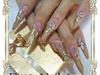 gold glitter, aquarium nails stiletto
