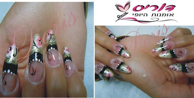 black&gold nail art