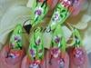 green floral nail art