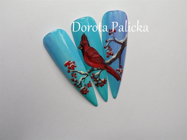 Zhostovo bird nail art