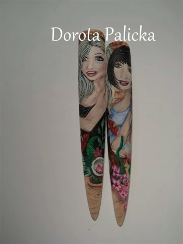 faces nail art, mix media box by Dorota